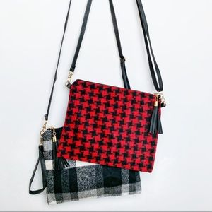 KELLY Black Red Houndstooth with tassel bag